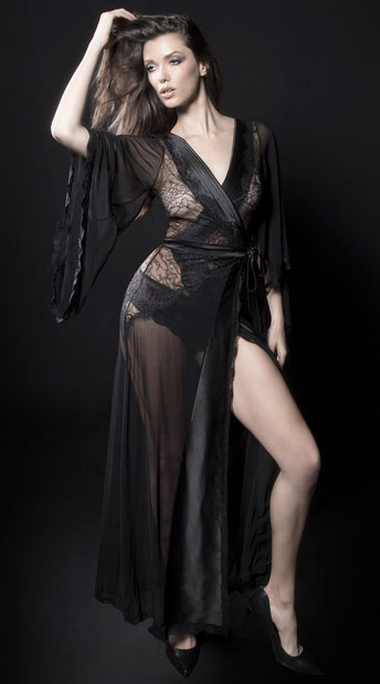 Nicolette Satin and Lace Robe, Black Satin and Lace Robe - Yandy.com