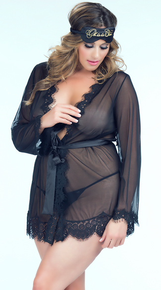 Plus Size Eyelash Lace Robe and G-String