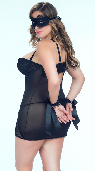 Plus Size Eyelash Lace Chemise Set, Plus Size Zipper Front Chemise with Panty, Plus Size Mesh and Net Chemise, Plus Size Sheer Chemise, Eyelash Lace Wrist Cuffs, Lace Wrist Cuffs, Satin Wrist Cuffs, Eyelash Lace Mask, Lace Eye Mask, Black Eye Mask
