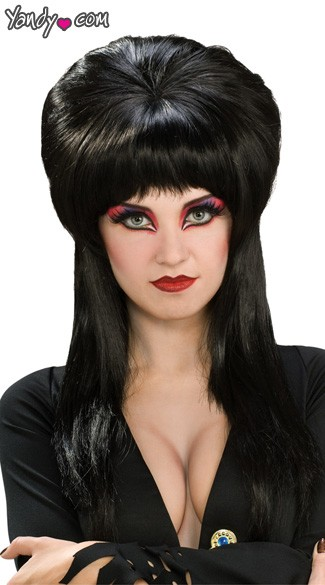 Official Elvira Wig, Sexy Elvira Wig, Long Black Wig, Evil Woman Wig
