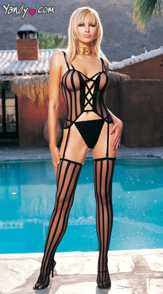 Opaque Striped Criss-X Sheer Bustier,G-string & W/Stockings