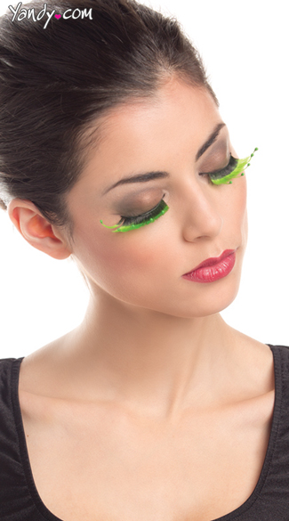 Colorful Green Layered Eyelashes, Halloween False Eyelashes, Costume Eyelashes