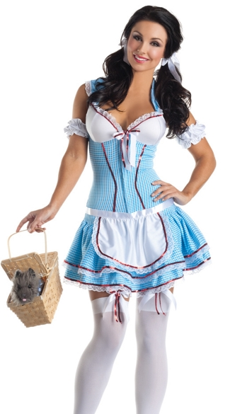 Deluxe Kansas Cutie Costume, Kansas Girl Corset Costume, Blue Gingham Dress Costume