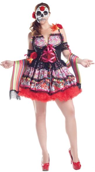 Plus Size Deluxe Day Of The Dead Costume, Plus Size Dia De Los Muertos Halloween Costume