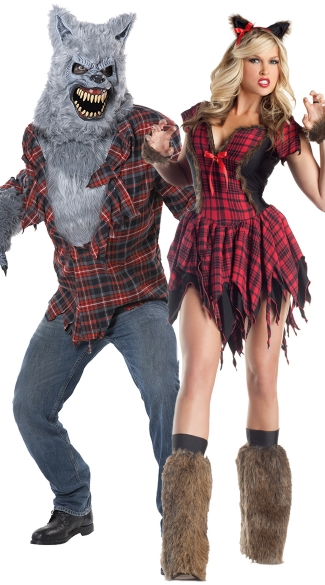 Moonlit Werewolf Couples Costume, Frisky Werewolf, Sexy Werewolf Costume, Big Bad Wolf Costume, Men\'s Gray Lycan Costume, Men\'s Werewolf Costume, Men\'s Wolf Costume
