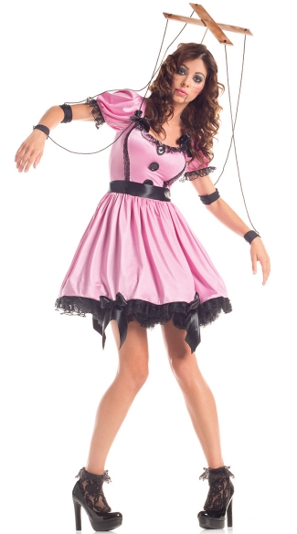 Pink Marionette Doll Costume, Adult Doll Costume, Adult Puppet Costume