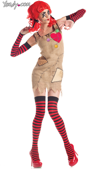 Plus Size Voodoo Doll Costume,  Women\'s Plus Size Doll Costume, Voodoo Doll Halloween Costume