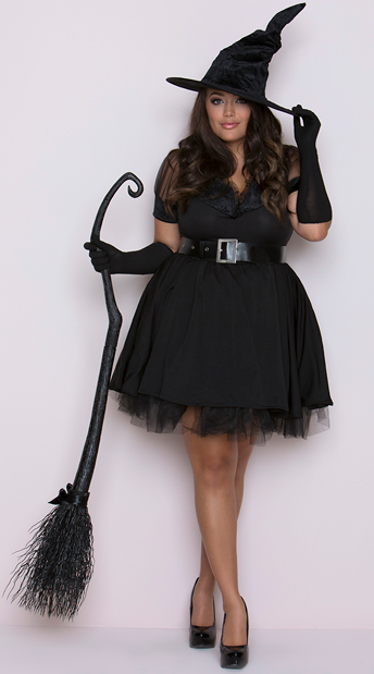 Plus Size Bewitching Pin-Up Witch Costume, Plus Size Witch Costume - Yandy.com