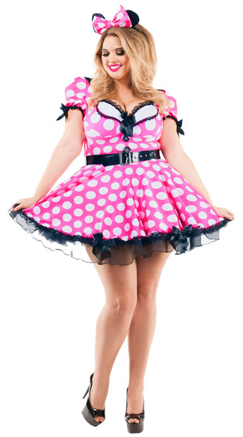 Pink Mouse Plus Size Costume, Spotted Pink Mouse Plus Size Costume - yandy.com