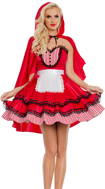 Red Hooded Babe Costume, Sexy Red Hooded Costume - yandy.com