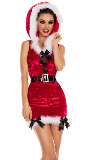 Red Santa\'s Helper Costume, Red Mrs. Claus Costume - Yandy.com