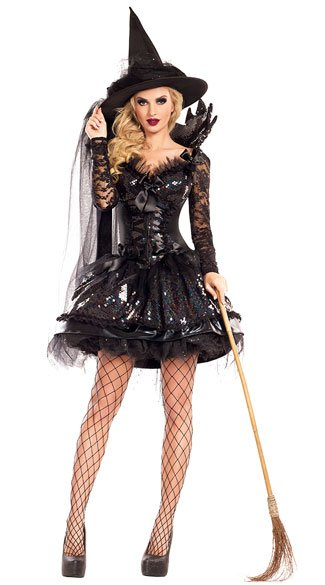 Midnight Black Witch Costume, Sexy Black Witch Costume, Lace Witch Costume