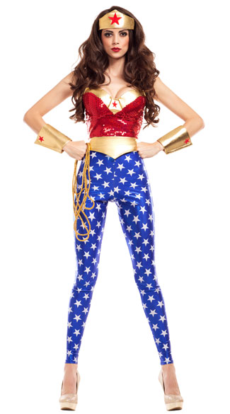 Glamorous Wonderlady Costume, Sexy Superhero Costume, Gold Superheroine Costume