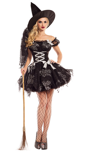 Silver Sparkle Witch Costume, sexy silver sparkle witch costume, witch costume, sexy witch costume, lace witch costume, sexy lace witch costume, sorceress costume, sexy sorceress costume