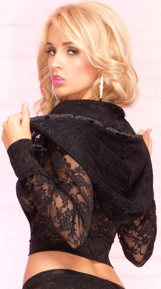 Cropped Lace Jacket with Hood
