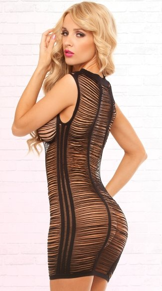 High Neck Shredded Mini Dress