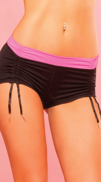 Sexy Black And Pink Cinchable Hot Short, Sexy Scrunched Hot Short, Sexy Scrunched Work Out Shorts
