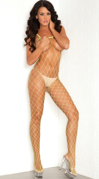 Strap and Netted Bodystocking, Fishnet Body, Womens Clubwear