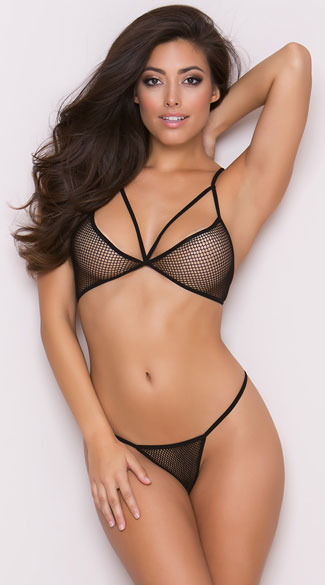 Killing It Fishnet Bra Set, Black Bra Set, Fishnet Bra Set