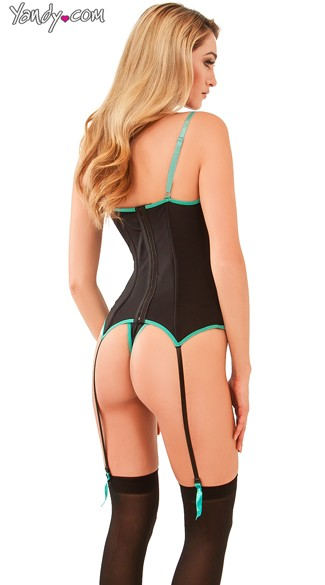 Open Cup Underwire Bustier and Thong