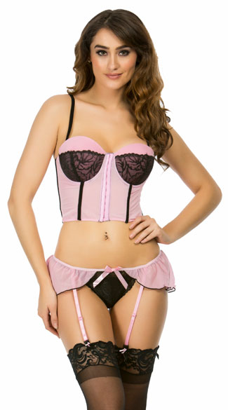 Pretty in Pink Bustier and Garter Panty