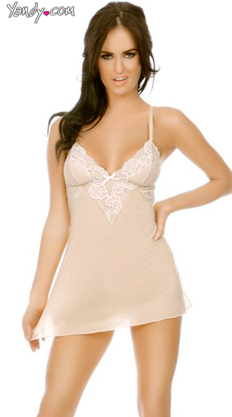 Mesh And Lace Babydoll With G String, Nude Mesh Babydoll