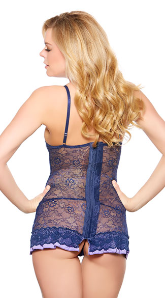 Blue Sateen and Lace Babydoll with Panty