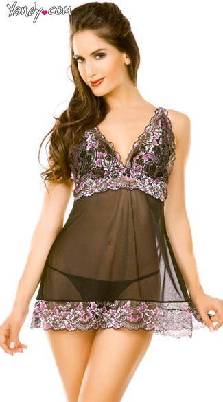 Black Mesh Babydoll With Lace Trim And G-String, Lace Cup Black Babydoll