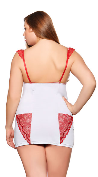 Plus Size Romantic Red Lace On Grey Chemise