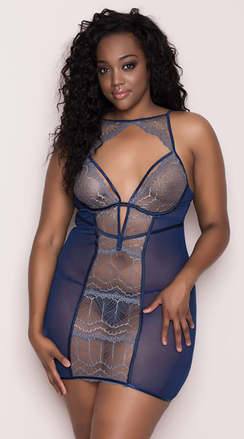 Plus Size Icy Lace Chemise Set, plus size blue lace chemise set - Yandy.com