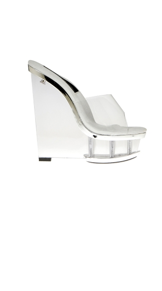 Clear Wedge Platform With Colored Trim