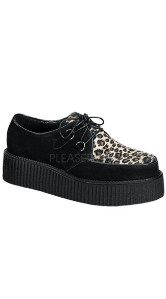 Mens 2 Inch P/f Rockabilly Punk Goth Blk Suede Cheetah Fur Creeper