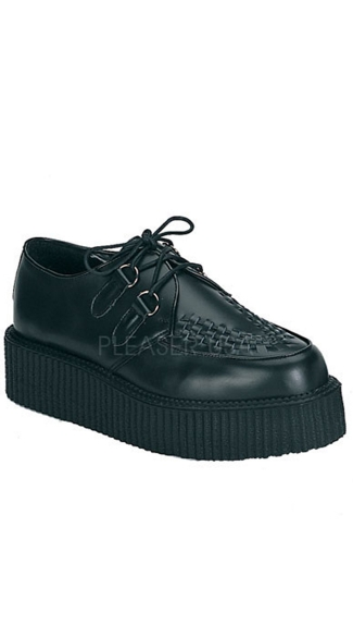2 Inch Platform Men\'s Rockabilly Goth Punk Black Leather Creeper