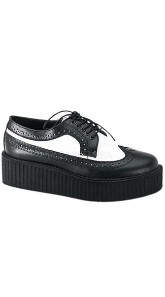 Mens 2 Inch Platform Black/White Leather Wingtip Creeper Shoe