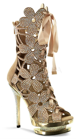 6 Inch Heel, 1 1/2 Inch Dual Pf, Floral Cut-out, Front Lace-up Ankle