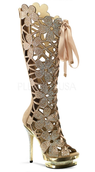 6 Inch Heel, 1 1/2 Inch Dual Pf, Floral Cut-out, Front Lace-up Knee