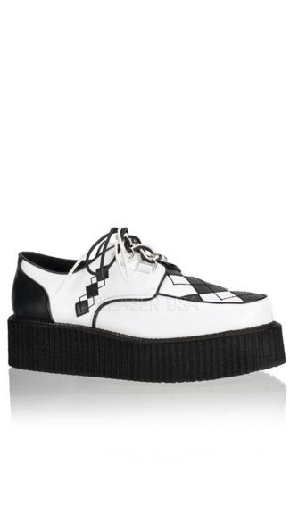 2 Inch Platform Punk Goth Argyle Vegan Creeper Shoe