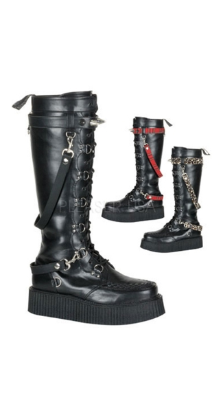Mens 2 Inch Platform Punk Goth Vegan Creeper Boot with Interchangeable Straps