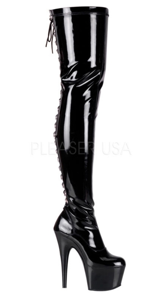 7 Inch Rear Lace-up Stretch Platform Thigh Boot with Side Zipper