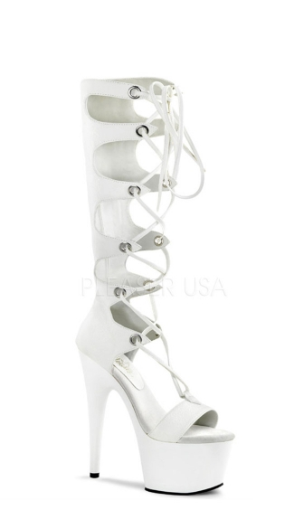 7 Inch Heel, 2 3/4 Inch Pf Front Lace-up Knee High Sandal