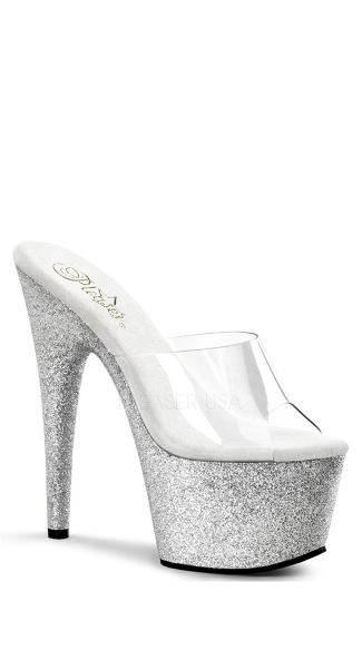 7 Inch Heel, 2 3/4 Inch Platform Slide Featuring Glitter Covered Bottom