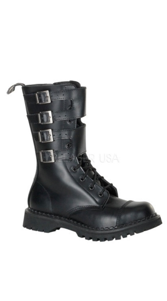 Mens 10 Eyelette Blk Leather S/t Calf Boot W/4 Buckles