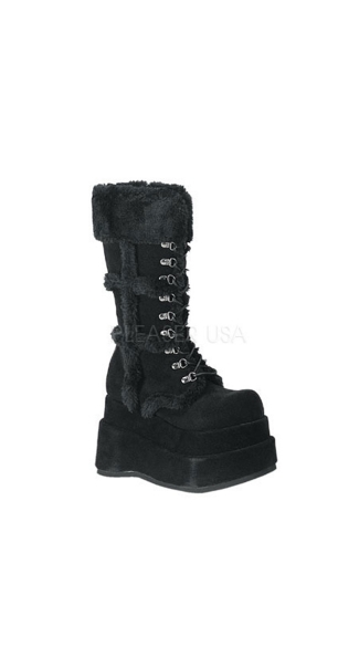 Goth Stacked Vegan Suede Boots
