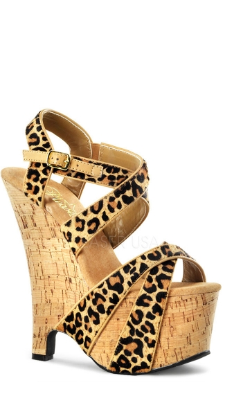 6 1/2 Inch Heel, 2 3/4 Inch Pf, Double Criss Cross Wedge Sandal
