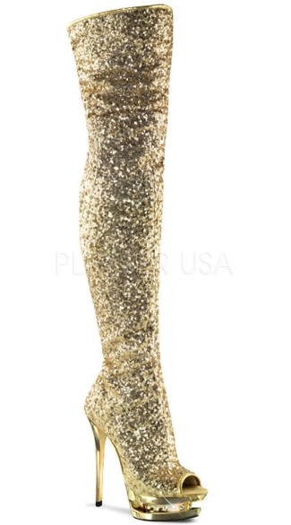 "Sequin Peep Toe Thigh High Boot with 6"" Heel"