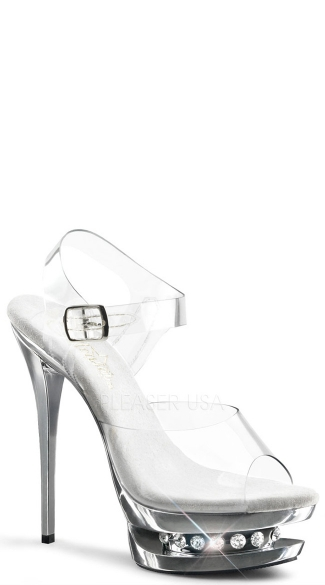 "Dual Ankle Strap Sandal with a 6"" Heel"