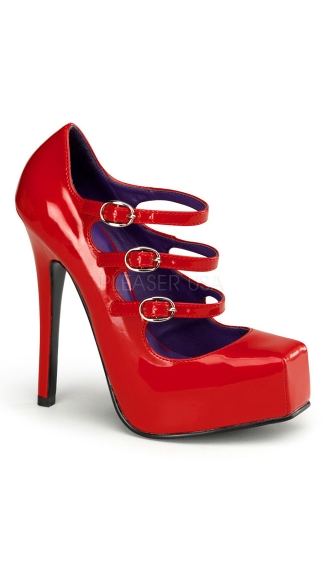 Square Toe 3 Strap Mary Jane Pumps