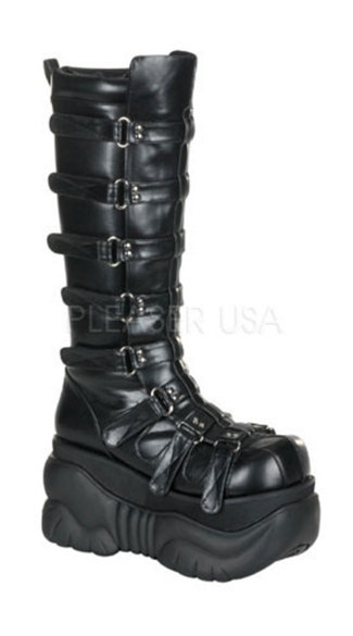 Mens 4 Inch P/f Knee Cyber Boot Blk Pu W/ Adjustable Velcro Straps