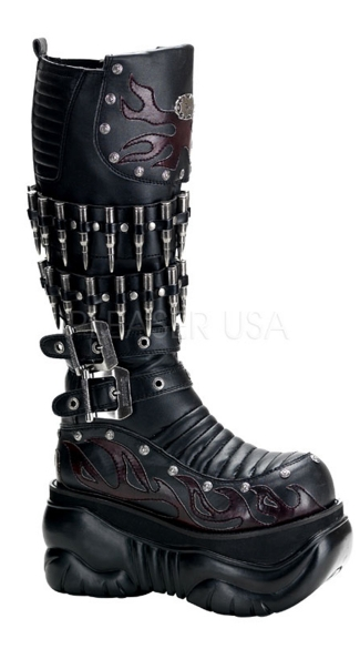 Mens 4 Inch P/f Knee Cyber Boot Blk Pu W/ Adjustable Buckles