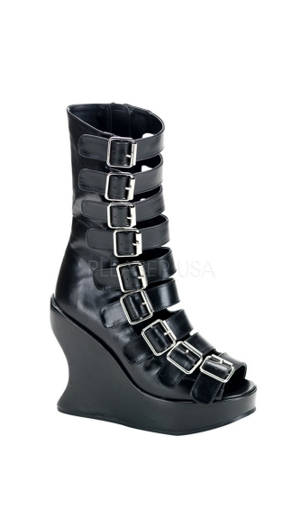 5 Inch Platform Goth Lolita Punk Fetish Black Pu Wedge With 9 Straps